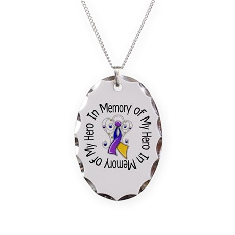 In Memory - Bladder Cancer Necklace Oval Charm