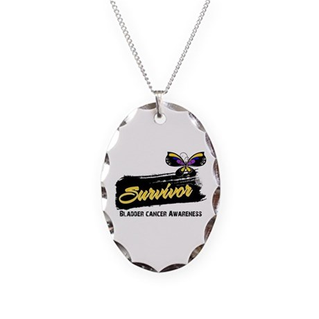 Bladder Cancer Survivor Necklace Oval Charm