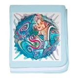 blue ganesh bubble white baby blanket