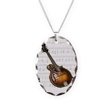 Mandolin and Sweet Music Necklace Oval Charm