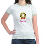 Christmas Wreath Carrie Jr. Ringer T-Shirt