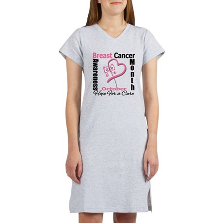 Breast Cancer Month Heart But Women's Nightshirt