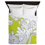 Lime Floral Sketch Queen Duvet