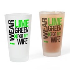 I Wear Lime Green Ribbon Drinking Glass