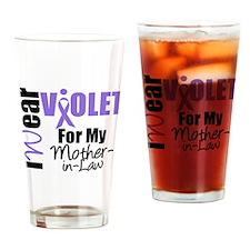 I Wear Violet Ribbon Drinking Glass