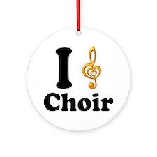 I Love Choir Treble Clef Ornament (Round)