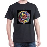 Rainbow Butterfly Mandala Black T-Shirt