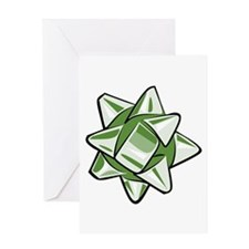 Vintage Green Bow Greeting Card