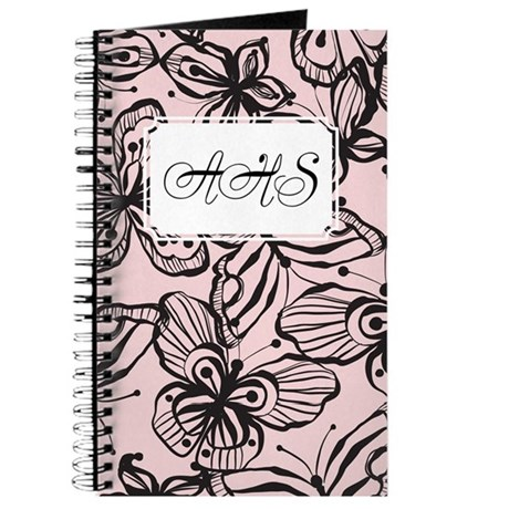 Black White Butterfly Black Pink Journal