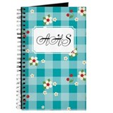 Flower Gingham Blue Journal