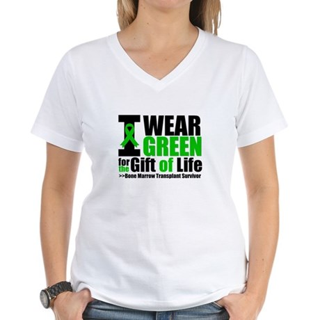 BMT I Wear Green Women's V-Neck T-Shirt