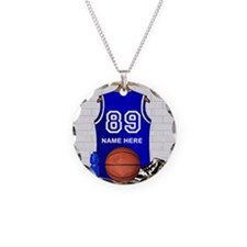 Personalized Basketball Jerse Necklace Circle Char