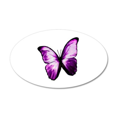 Purple Butterfly 38.5 x 24.5 Oval Wall Peel