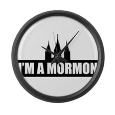 I'm a Mormon Black Temple Large Wall Clock