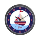 Little Sailboat Red/Navy Wall Clock - Ben