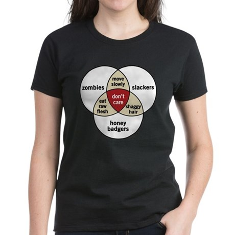 Zombies Honey Badgers Slacker Women's Dark T-Shirt