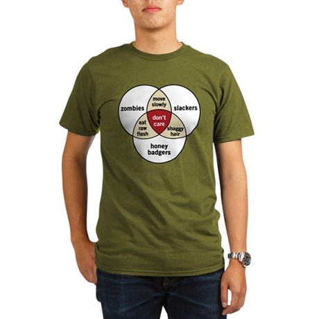 Zombies Honey Badgers Slacker Organic Men's T-Shir