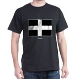 Cornish Cornwall Flag (Front) Black T-Shirt