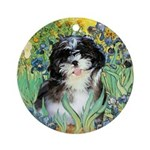 Irises / Shih Tzu #12 Ornament (Round)