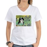 Irises / Shih Tzu #12 Women's V-Neck T-Shirt