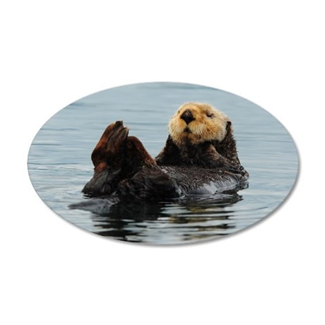 Alaskan Sea Otter 20x12 Oval Wall Decal