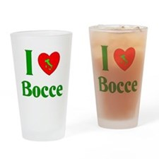 I Love Bocce Drinking Glass