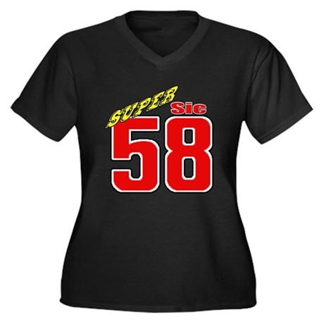 MS58SS Women's Plus Size V-Neck Dark T-Shirt