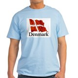 Waving Flag With Denmark Ash Grey T-Shirt