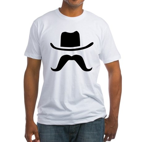 Hat & Mustache Fitted T-Shirt