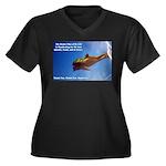 Divine Plan Women's Plus Size V-Neck Dark T-Shirt