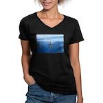 Connect With Spirit Women's V-Neck Dark T-Shirt