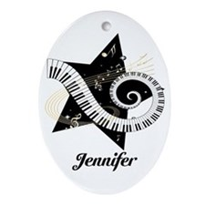 Music star gold black Ornament (Oval)