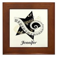 Music star gold black Framed Tile