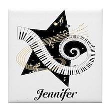 Music star gold black Tile Coaster
