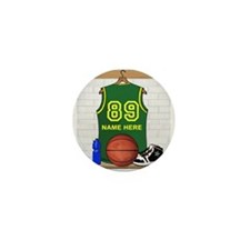 Personalized Basketball Green Mini Button (10 pack