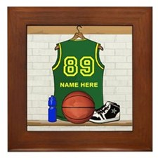 Personalized Basketball Green Framed Tile