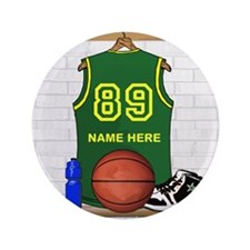 "Personalized Basketball Green 3.5"" Button (100 pac"