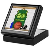 Personalized Basketball Green Keepsake Box