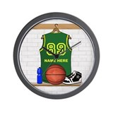 Personalized Basketball Green Wall Clock