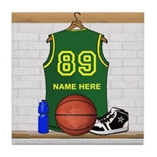 Personalized Basketball Green Tile Coaster