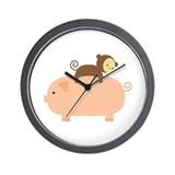 Baby Monkey Riding Backwards Wall Clock
