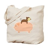 Baby Monkey Riding Backwards Tote Bag