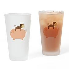 Baby Monkey Riding Backwards Drinking Glass