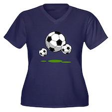 Soccer (9) Women's Plus Size V-Neck Dark T-Shirt