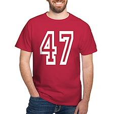 White Big Outline 47 T-Shirt