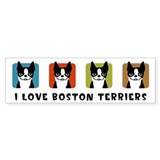 I Love Boston Terriers Bumper Car Sticker
