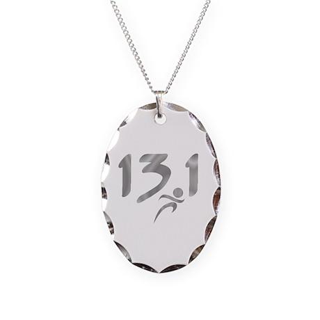 Silver 13.1 half-marathon Necklace Oval Charm