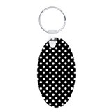 Black and White Polka Dot Aluminum Oval Keychain