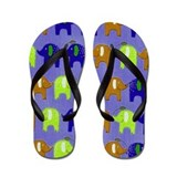 Elephants Summer Blue Flip Flops