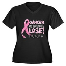 Breast Cancer is Gonna Lose Women's Plus Size V-Ne